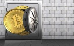 3d在白色石头的bitcoin 免版税图库摄影