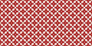 3D在白色立方体的例证红色玻璃球 与一详细重复的抽象五颜六色的无缝的样式 免版税图库摄影