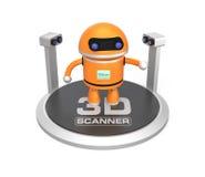 3D在白色背景和机器人隔绝的扫描器 免版税图库摄影