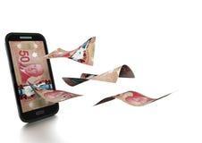3D在白色背景掀动和隔绝的被回报的加拿大金钱 向量例证