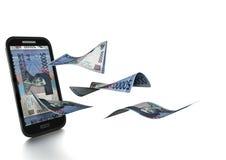 3D在白色背景掀动和隔绝的被回报的印度尼西亚金钱 向量例证