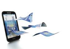 3D在白色背景掀动和隔绝的被回报的摩洛哥金钱 库存例证