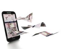 3D在白色背景掀动和隔绝的被回报的沙特金钱 向量例证