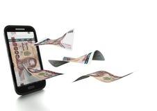 3D在白色背景掀动和隔绝的被回报的泰国金钱 向量例证