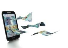 3D在白色背景掀动和隔绝的被回报的科威特金钱 库存例证