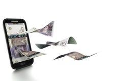 3D在白色背景掀动和隔绝的被回报的英国金钱 库存例证