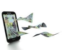 3D在白色背景掀动和隔绝的被回报的Emirati金钱 库存例证