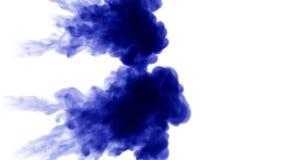 3d在白色背景的水中回报蓝墨水射入溶化并且传播与luma铜铍作为阿尔法通道为 影视素材