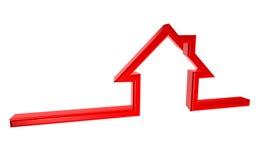 3D在白色背景的红色房子标志 图库摄影