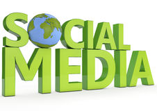 3d在白色背景的词社会媒介 免版税图库摄影