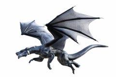 3D在白色隔绝的一次黑幻想龙飞行的翻译 免版税库存照片