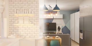 3d在白色颜色的例证厨房室内设计 库存例证