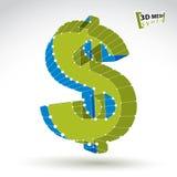 3d在白色backgrou隔绝的滤网时髦的网绿色美元的符号 免版税库存图片