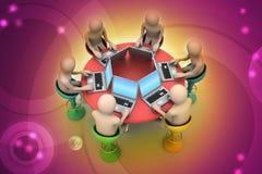 3d在看膝上型计算机的桌附近的人们 免版税库存图片