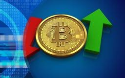 3d在箭头上下的bitcoin 图库摄影