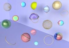 3d在紫罗兰色背景,明亮,模板,珍珠的五颜六色的球,现代,普遍,顶面,创造性,抽象 库存例证