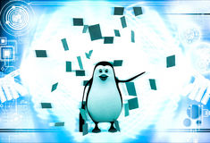3d在纸下雨的企鹅注意例证 库存图片