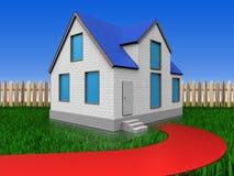 3d在草坪和篱芭的红色路 库存照片