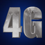 3D在蓝色的金属4G象 免版税库存图片