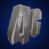 3D在蓝色的金属4G象 库存图片