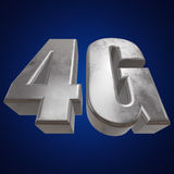 3D在蓝色的金属4G象 免版税图库摄影