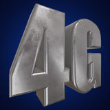 3D在蓝色的金属4G象 图库摄影