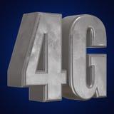 3D在蓝色的金属4G象 库存照片