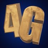 3D在蓝色的金4G象 免版税库存照片