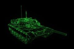 3D在行动的坦克全息图Wireframe 好的3D翻译 免版税库存图片