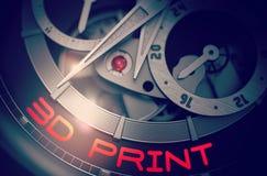 3D在豪华人手表机制的印刷品 3d 库存图片