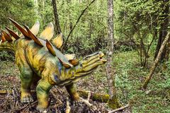 3d在路径的剪报恐龙使影子剑龙空白 库存照片