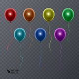 3d在透明背景的现实五颜六色的气球 飞行光滑的气球的假日例证 向量 皇族释放例证
