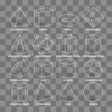 3d在透明背景隔绝的算术几何概述形状 皇族释放例证
