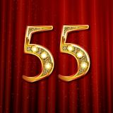 3d在金子的第五十五 免版税库存图片