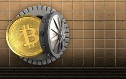 3d在金黄墙壁的bitcoin 免版税库存照片