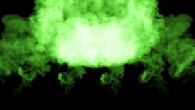3d在黑色的水中回报绿色墨水射入溶化并且传播与luma铜铍作为视觉的阿尔法通道 股票录像