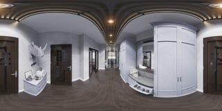 3d在经典样式的例证大厅室内设计 Render是 免版税库存照片