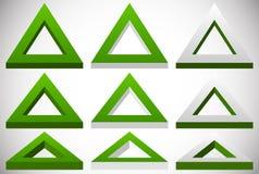 3d在更多彩色组的三角形状在不同的角度 库存例证