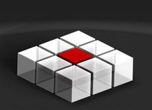 3D在黑暗的背景的立方体 库存例证