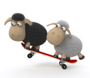 3d在滑板的绵羊 免版税库存照片