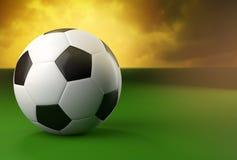 3d在绿色和黄色背景的足球 免版税库存照片