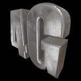 3D在黑色的金属4G象 免版税库存图片