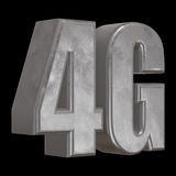 3D在黑色的金属4G象 免版税图库摄影