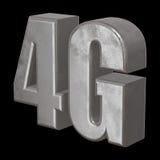 3D在黑色的金属4G象 免版税库存照片