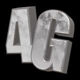 3D在黑色的金属4G象 库存照片