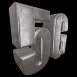 3D在黑色的金属5G象 库存照片