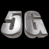 3D在黑色的金属5G象 库存图片