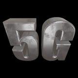 3D在黑色的金属5G象 免版税图库摄影
