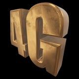 3D在黑色的金4G象 免版税库存照片