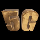 3D在黑色的金5G象 免版税图库摄影